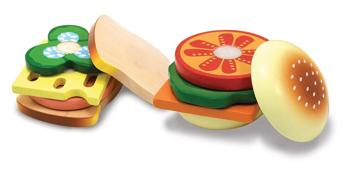 Melissa /& Doug Wooden Sandwich-Making Pretend Play Food Set Melissa and Doug 10513