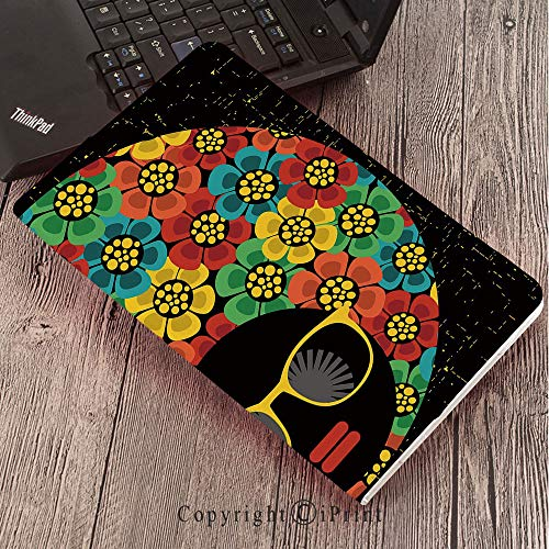 for Galaxy Tab S3 9.7″,TPU Silicone Case for Samsung Galaxy Tab S3 T820 / T825,70s Party Decorations,Abstract Woman Portrait Hair Style with Flowers Sunglasses Lips Graphic Decorative,Multicolor ()