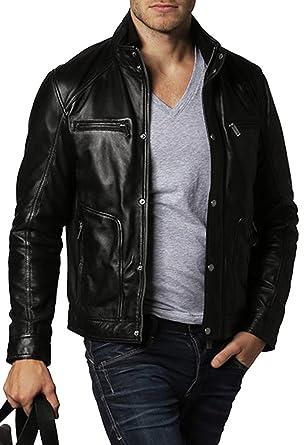 New Mens Leather Jacket Black Slim Fit Biker Motorcycle Genuine Lambskin Coat 15