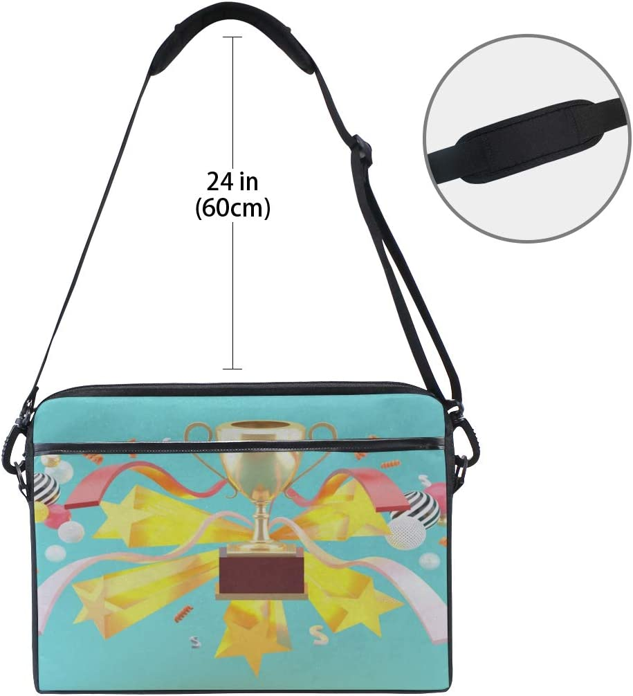 Briefcase Messenger Shoulder Bag for Men Women Laptop Bag Champion Cup Amidst Ribbons Stars On 15-15.4 Inch Laptop Case College Students Business People Office Workers