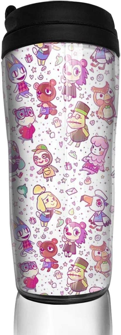Botella Agua Acero Inoxidable Animal Crossing Pattern ABS Travel Coffee Mugs With Quick Seal Lid Insulated 12 OZ Taza de Viaje, Termo Taza, Frasco de Vacío