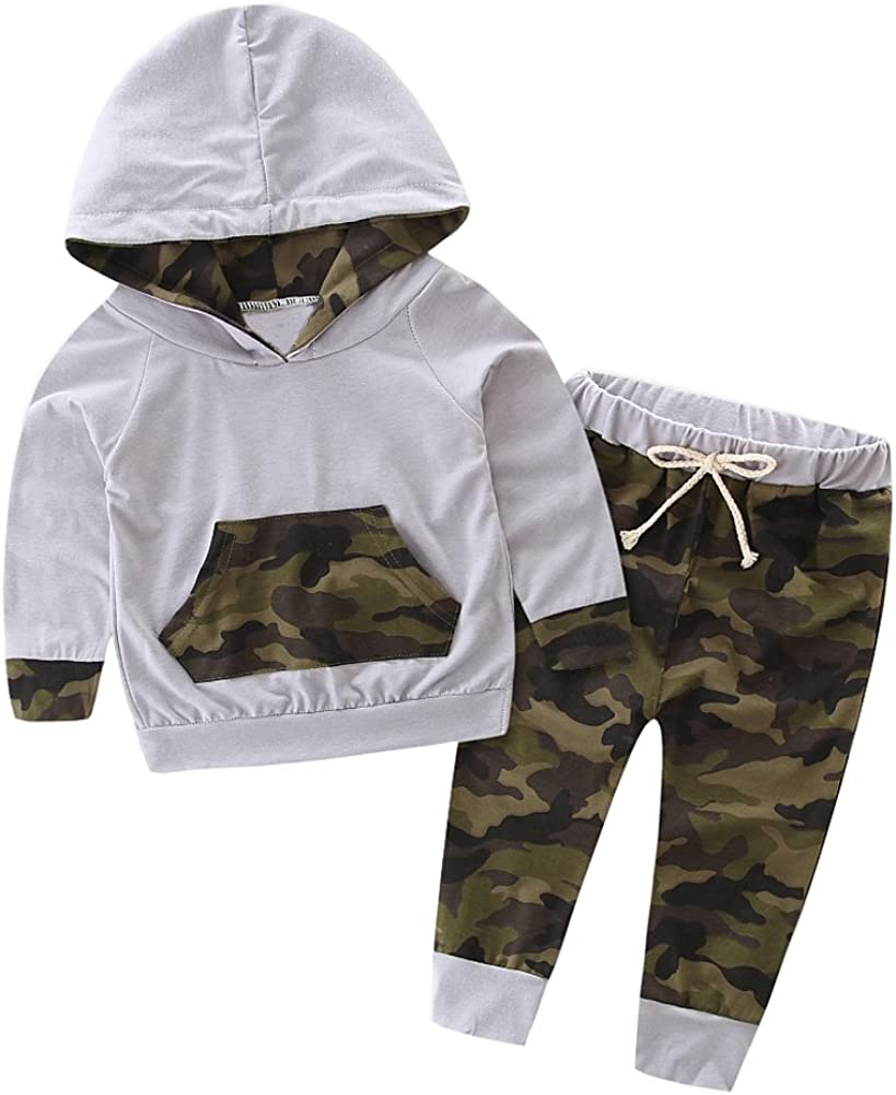 SCFEL Bambino Neonati Outfits bambini Camouflage con cappuccio brevi insiemi ABBIGLIAMENTO