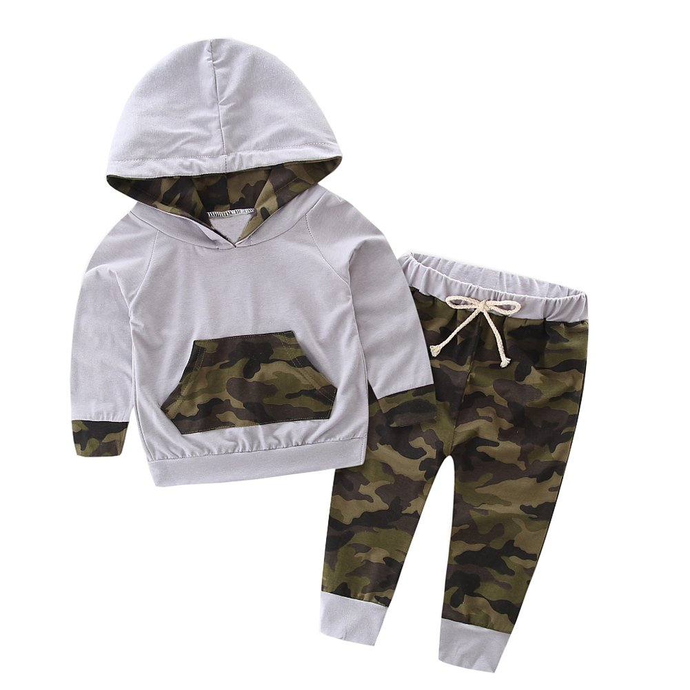 SCFEL Neugeborenes Baby Outfits Kinder Camouflage Kurzarm Hoodie + Hosen Bekleidung Sets