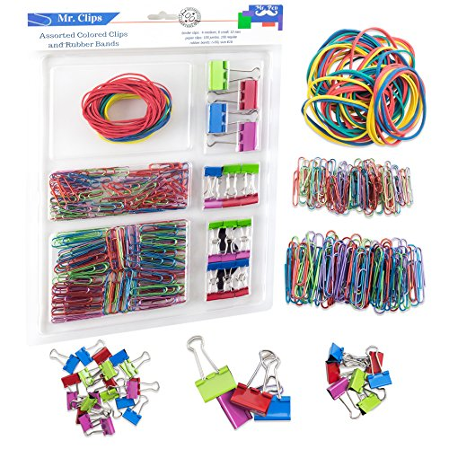 Clip Office Desk (Mr. Pen- Assorted Colored Binder Clips, Paper Clips, Rubber Bands, Paper Clips Jumbo, Paper Clips Small, Binder Clips Small, Binder Clips Medium, Binder Clips Mini, Paper Clamps, Foldback Clips)