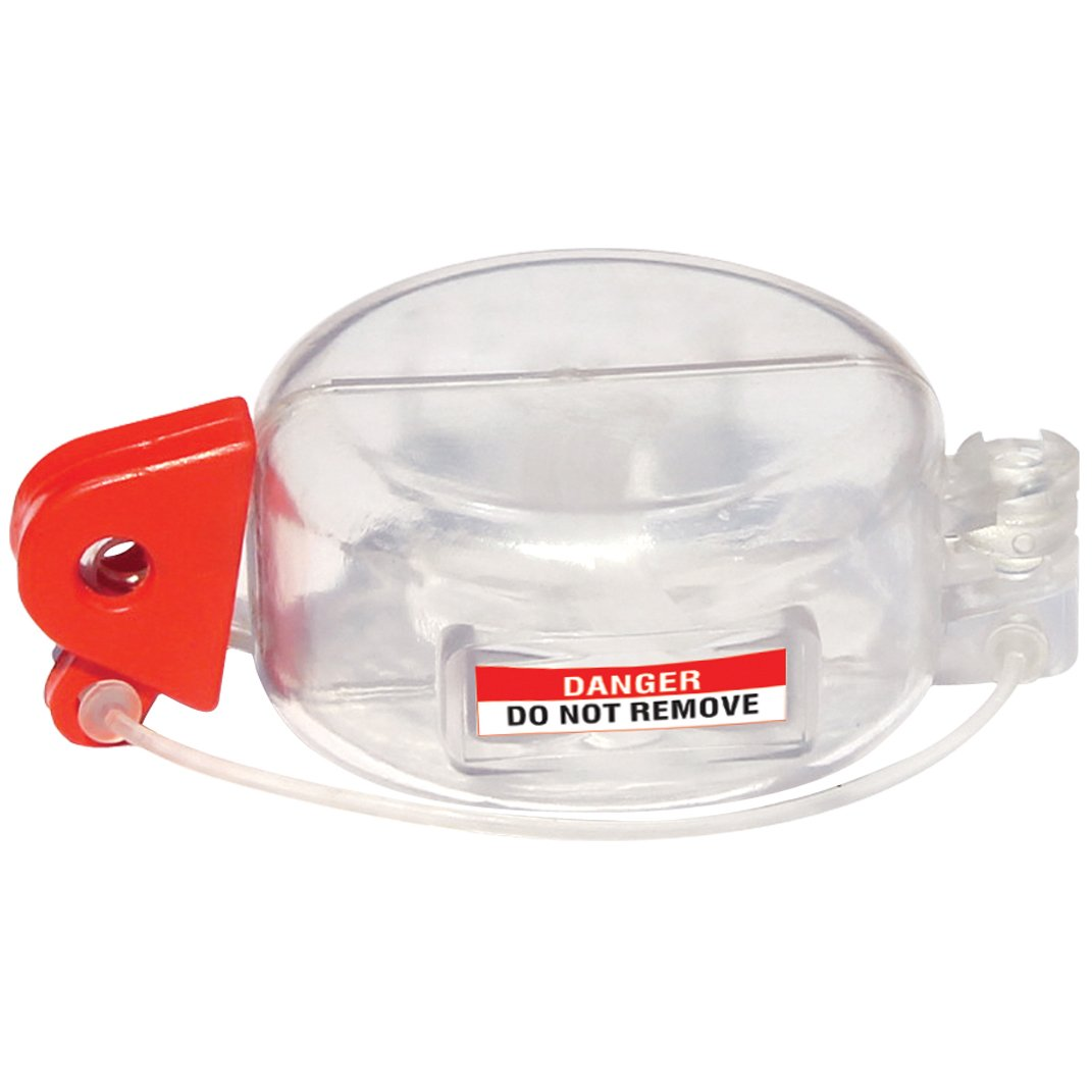 Lockout Safety Supply 7253 Push Button Lockout-Electrical Panels, Clear/Red