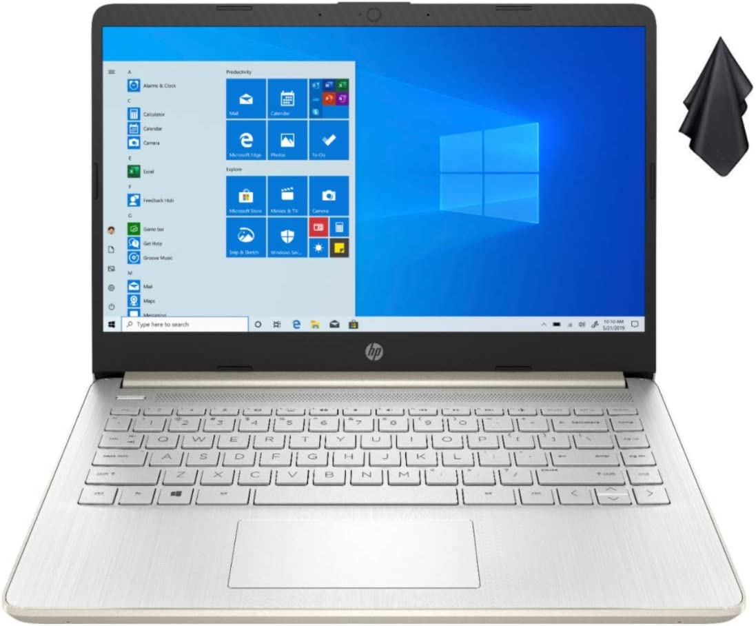 2021 Newest HP Stream 14-inch HD Non-Touch Laptop, Intel 2-Core N4020 up to 2.8 GHz, 4 GB RAM, 64 GB eMMC, WiFi, Webcam, Bluetooth, Windows 10 S with Office 365 for 1 Year, Gold + Oydisen Cloth
