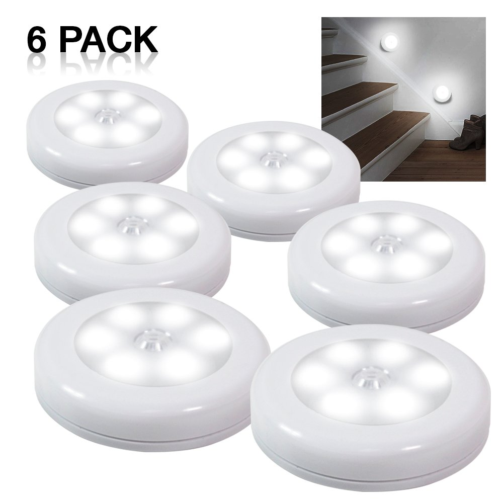 eTopLighting 6-Pack Wireless LED Night Light with PIR Motion Sensor Stick-Anywhere 3M Adhesive Pad for Children's Rooms, Closets, Cabinets, Bedrooms, Hallways, Cool White, APL1474