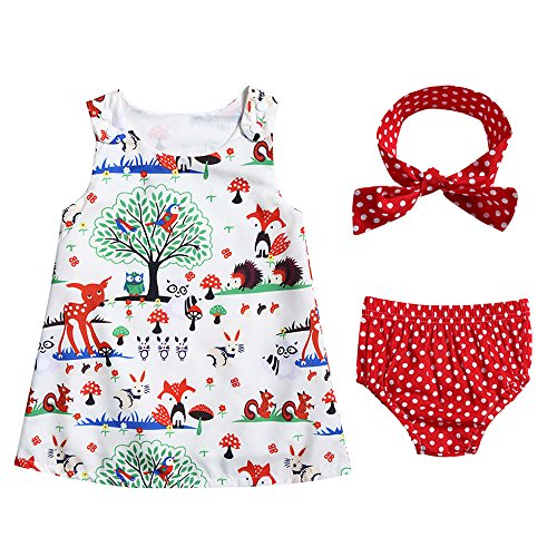 Baby Girls Woodlands Print Tank Dress + Polka Dot Print Shorts + Headband 3PCS Clothing Set (12-18 M) - Animal Print Tank Dress