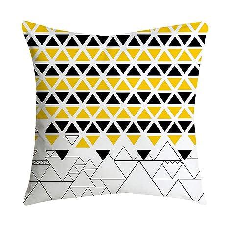 VJGOAL Impresión Amarilla Suave cómodo Funda de Almohada Sofá Cintura del Coche Cojín Cuadrado Cubierta Decoración para el ...