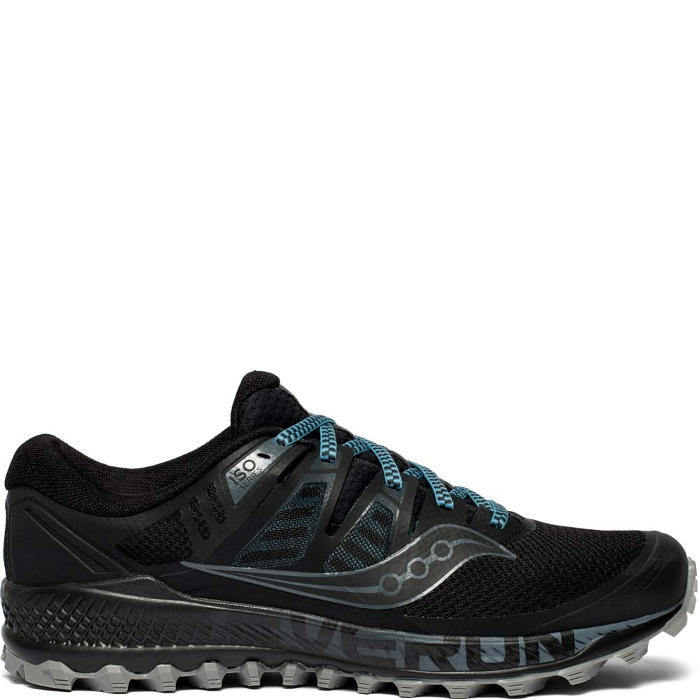 Saucony Men's Peregrine ISO Trail Running Shoe, Black/Grey, 10.5 M US by Saucony