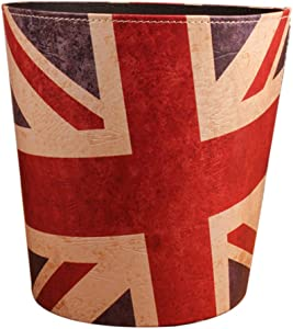 Fcoson Paper Wastebasket Without Lid Round PU Leather Trash Can Creative Retro European Style Garbage Bin Recycle Dustbin for Pub Office Hotel Bedroom Bathroom - Flag Pattern