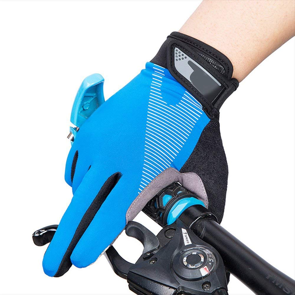 AsDlg Full Finger Sport Riding Summer Gloves, Touchscreen Biking Cycling Gloves Breathable Anti-Slip Gloves for Mountain Road Bicycle for Men Women Ladies (Color : Blue, Size : M) by AsDlg