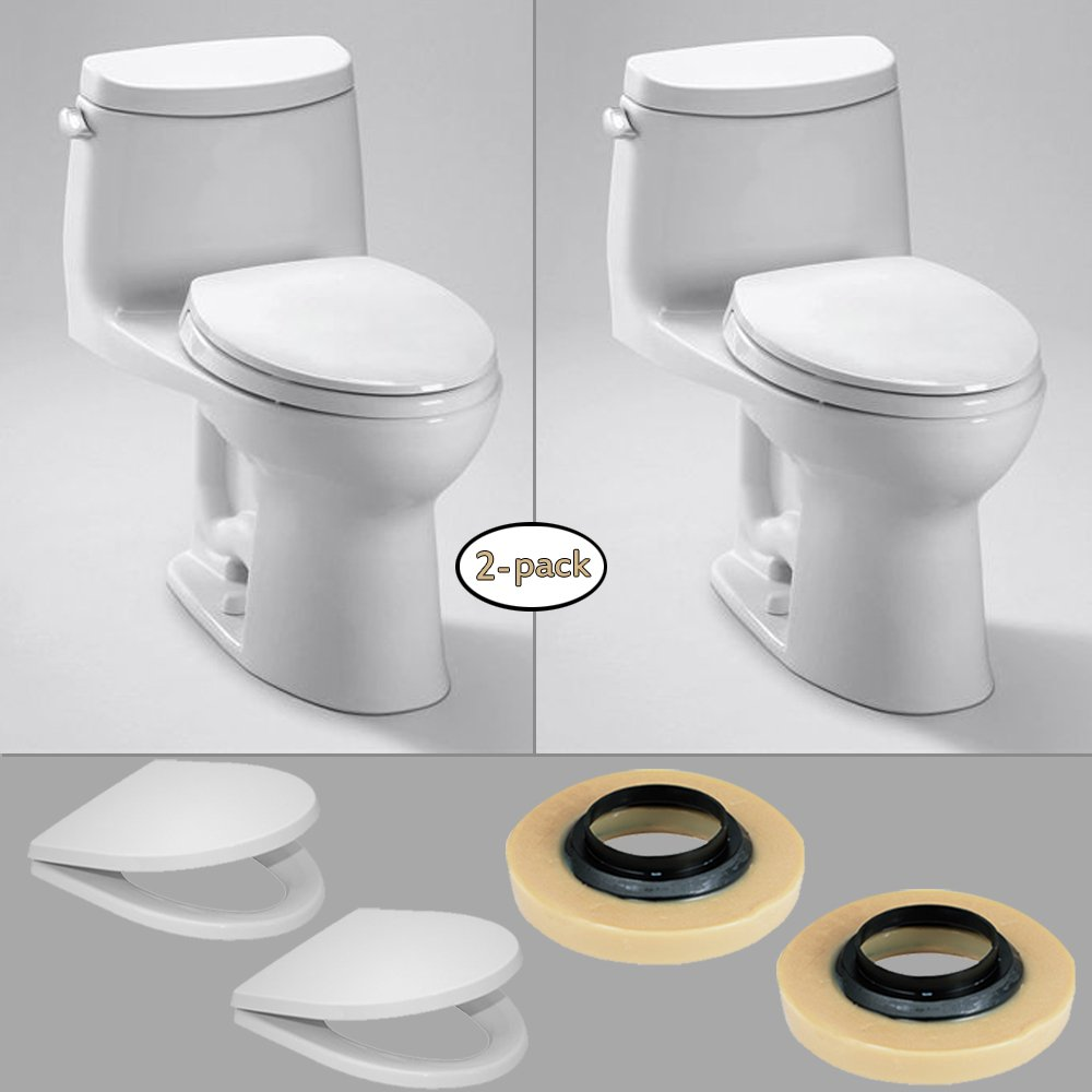 TOTO UltraMax II One-Piece Toilet (1.28 GPF) Kit with Wax Rings & Toilet Seat, Cotton White, (2 Pack) good