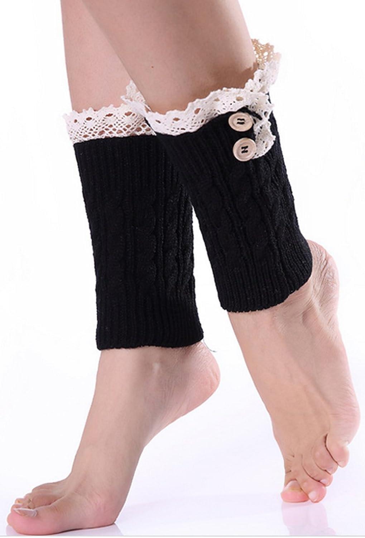 SODIAL(R)Femmes Crochet Tricote bordure en dentelle Jambieres Chaussettes  Bottes Manchons Noir: Amazon.fr: Vêtements et accessoires