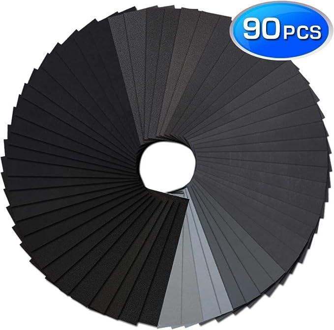 Grano Surtido papel lija seco húmedo 9x3.6 pulgadas para lijado automotriz 90pcs