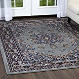 Home Dynamix Premium Sakarya Area Rug by Traditional Persian-Inspired Carpet | Stylish Medallion Print and Classic Boarder Design | Silver, Blue, Brown 5'2'' x 7'4''