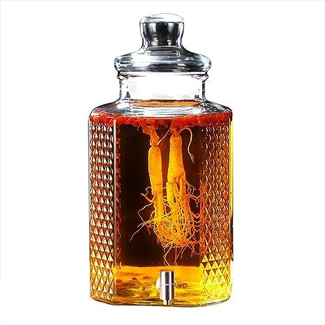 Dispensador De Bebidas De Vidrio 5L / 10L Glass Mason Jar con Espiga Libre De Fugas