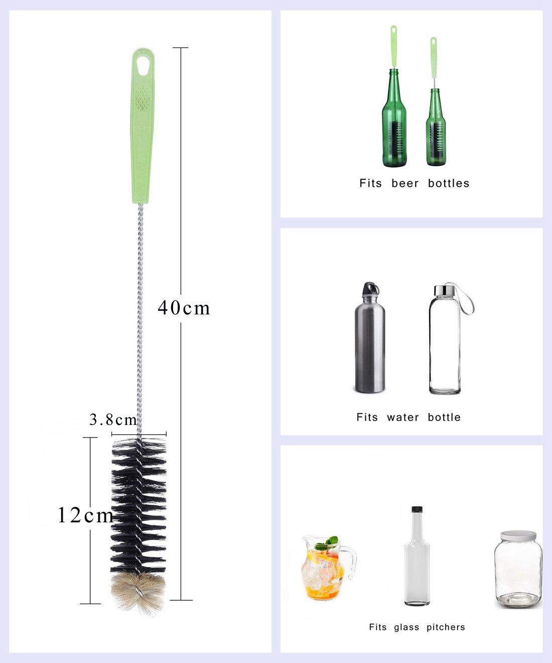 Cepillo de Botellas,Cepillo de Limpieza con Largo Mango Ideal Para Limpiar Botellas de cerveza estrecha,, Termos, Carafes, (40cm): Amazon.es: Hogar