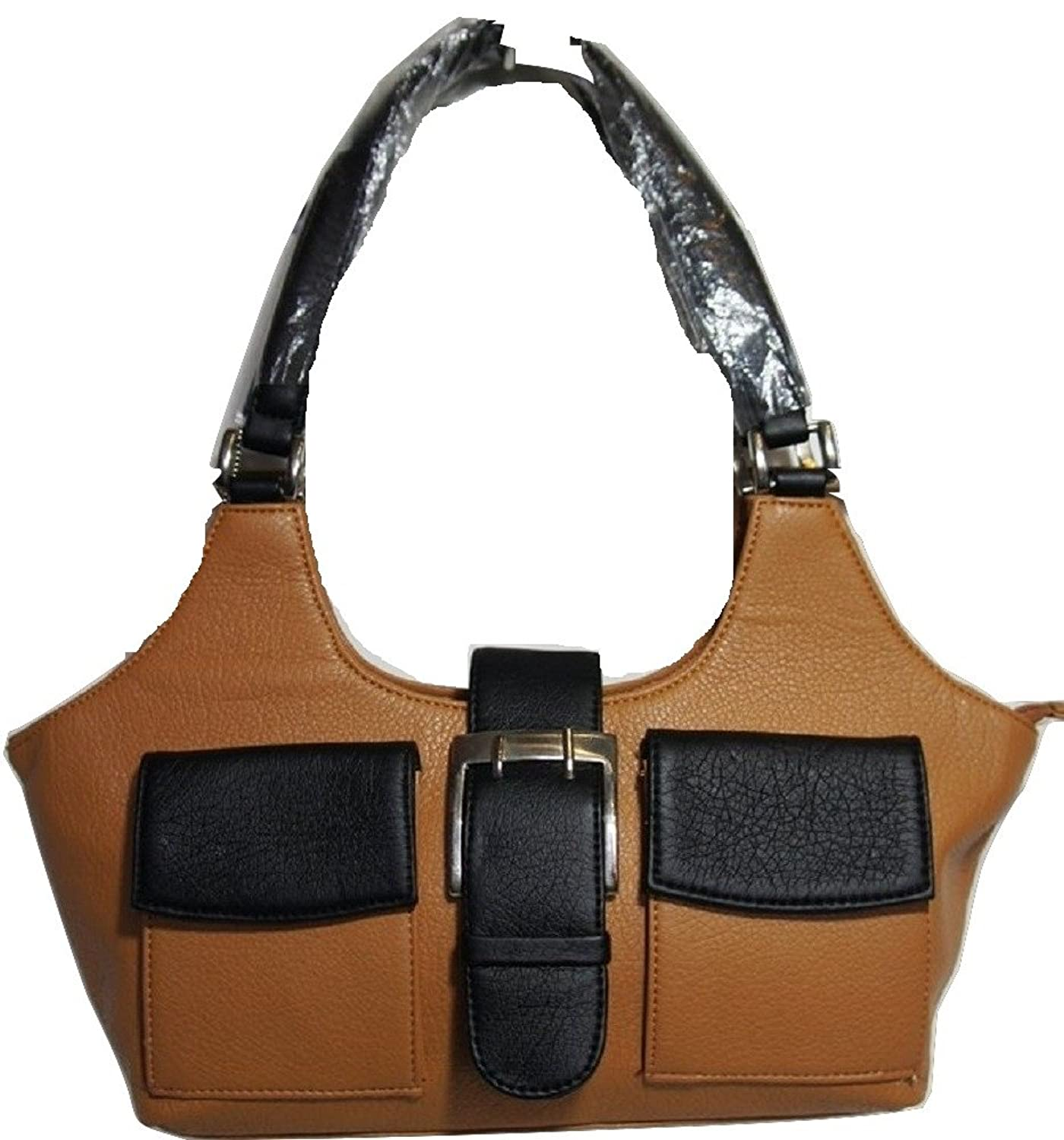 ANR Tan Brown & Black Small 2 Front Pocket Handbag / Shoulder Bag
