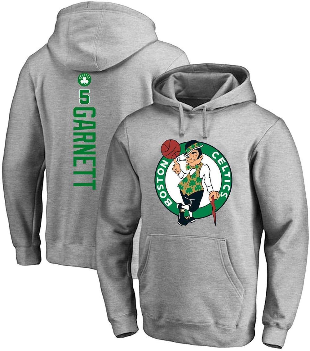 Boston Celtics 5# Garnettjersey Basketball Swingman Trikot WANGWW Herren Basketball Hoodie Abriebfest Und Atmungsaktiv Sportswear Unisex Loose Basketball Sweatshirt,Schwarz,S:160~165cm