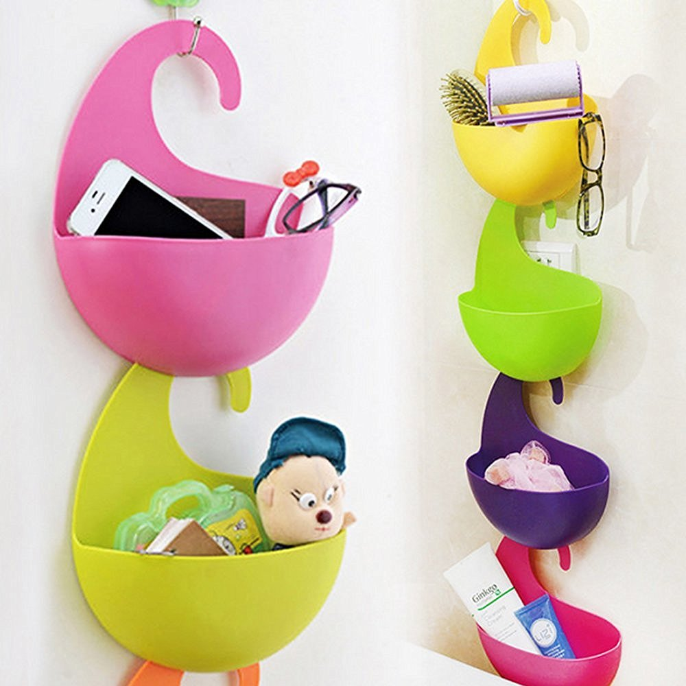 4 Pcs Colorful Multi-Purpose Hanging Basket, Agile-shop Multilayer Superposition Wall-hanging Eco-friendly Plastic Receive Storage Basket