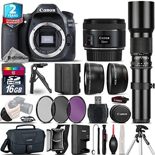Canon EOS 80D DSLR Camera (Body) + 50mm 1.8 STM Lens + 500mm preset Zoom Lens+ 2.2x Telephoto Lens + 0.43X Wide Angle Lens + 16GB Class 10 Memory Card + UV-CPL-FLD Filters - International Version -  TriStateCamera, CANE80DKKX9