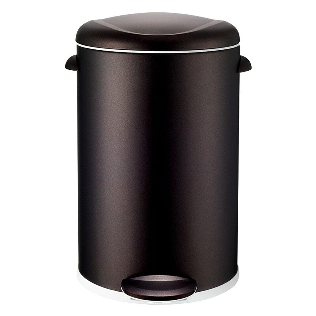 WSGZH Bote para Pies Hogar Baño Y Sala De Estar Bote De Basura De Acero Inoxidable, Cocina Baño Contenedor De Basura Creativo, Negro/Púrpura / Plata, 5L / 12L (Color : Black Copper, Tamaño : 5L)