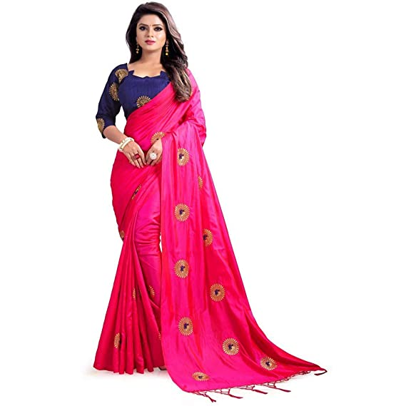 c8fcd8cb79b CENTER TEX Women s Embroidered Daily Wear Silk Saree  Amazon.in  Clothing    Accessories