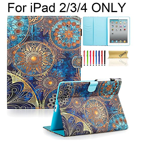 iPad Case, iPad 2/3/4 Case, Dteck(TM) PU Leather Stand Case Auto Sleep/Wake Function [Card Slot] Flip Folio Protective Shell Magnetic Closure Wallet Smart Cover for Apple iPad 2 3 4 - Golden Flower