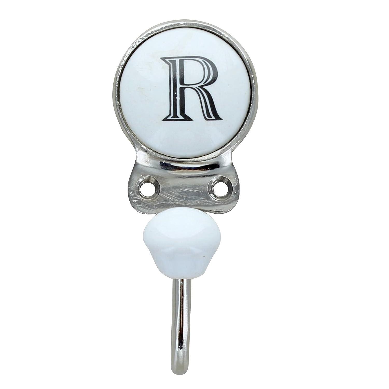 G Decor Alphabet Number Letter Ceramic Vintage Shabby Chic Coat Hook Porcelain R