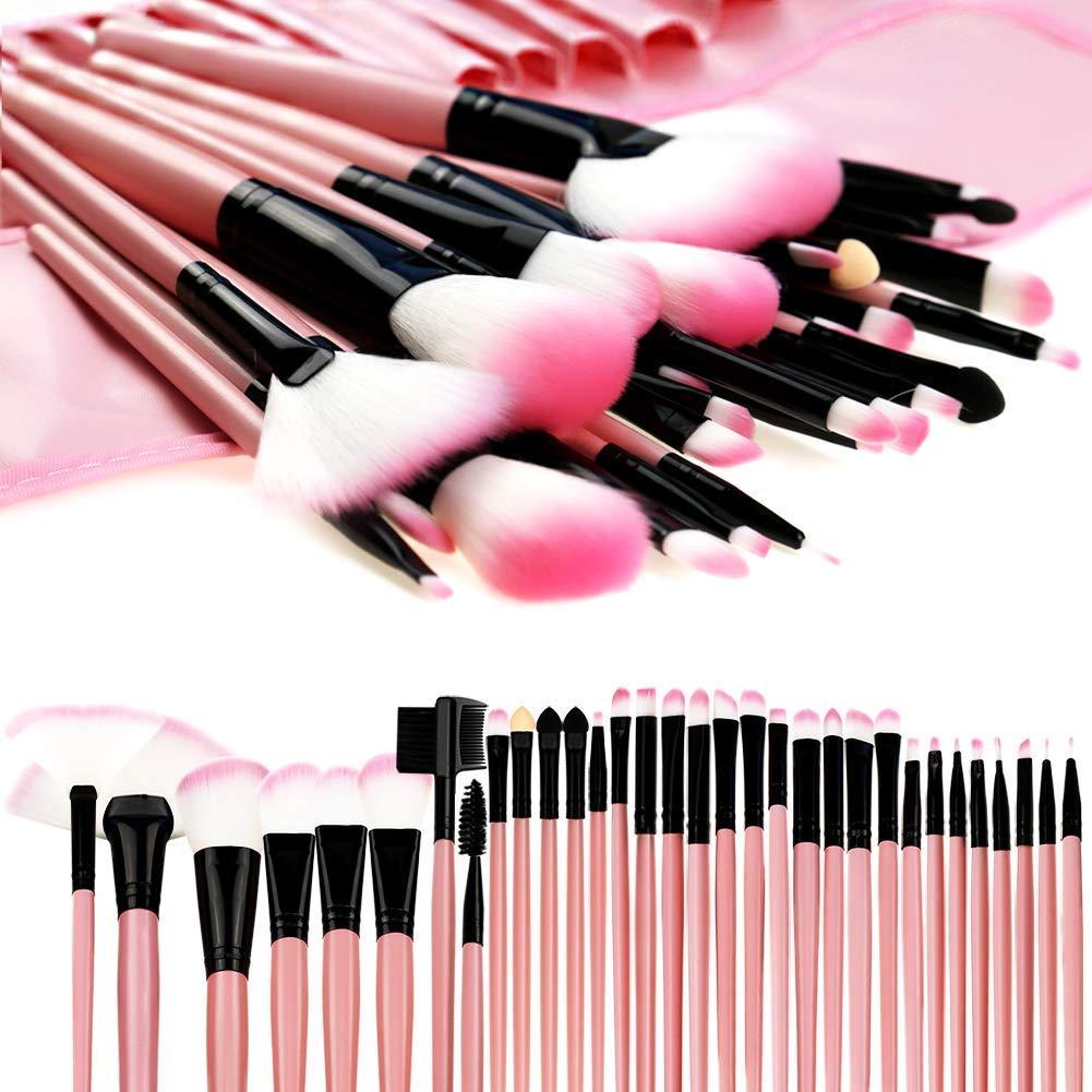 Makeup Brushes, Makeup Brush Set, 32 PCS Profesional Wooden Handle Synthetic Cosmetics Makeup Brush Kit with Leather Case, Foundation Eyeliner Blending Concealer Mascara Eyeshadow Face Powder (Wooden) MONOLED