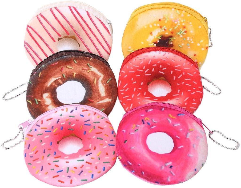 Ruzida Cartoon Coin Purse Donuts Zipper Change Wallet Card Holder Women Student Gift Colors Random
