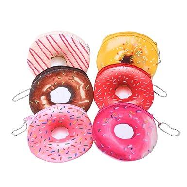 DOUGHNUT ZIP PURSE Donut Plush Childrens Girls Coin Cute Pocket Money School NEW