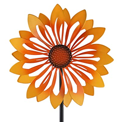 Kinetic Wind Spinners with Stable Stake Metal Garden Spinner with Reflective Painting Unique Lawn Ornament Wind Mill for Outdoor Yard Lawn Garden Decorations : Garden & Outdoor