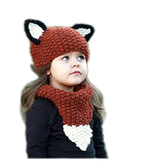 cd9e241fe15 Carno store Winter Kids Warm Fox Animal Hats Knitted Hood Scarf Beanies for Autumn  Winter (