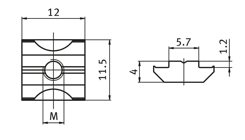 Typ B Edelstahl schwer 10x Nutenstein VA Nut 6 M4 mit Steg