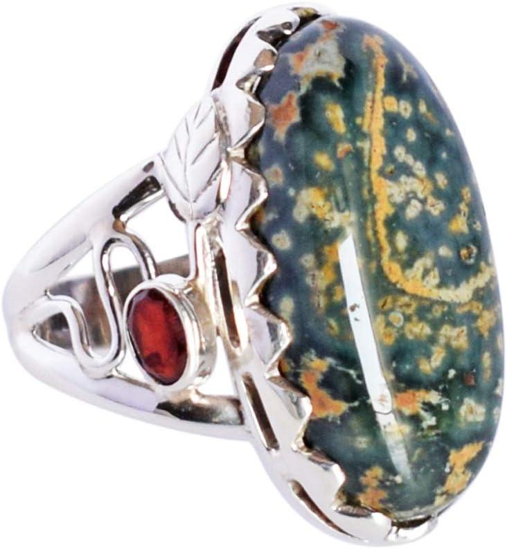 Anillo de plata de ley 925 con piedras preciosas de jaspe y granate para mujer SZ 10 FSJ-2672