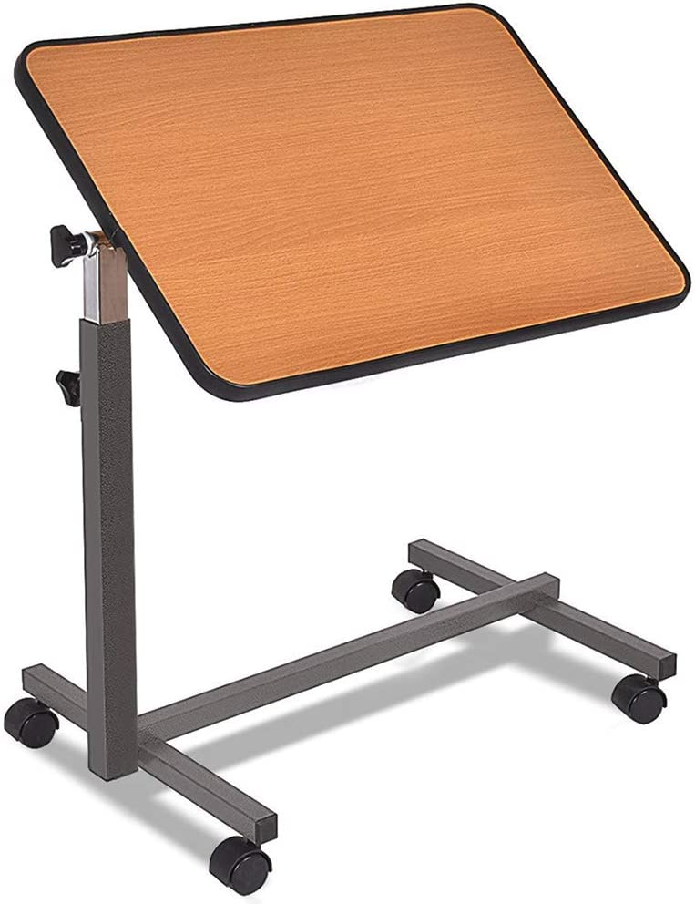 ZXYY 22.4 inch Portable Worktable Medical Bedside Hospital Food Tray Laptop Desk with Tilt Casters Brown