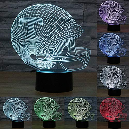 go 3D Lamp Table NightLight 7 Color Change Football LED Desk Light Touch Multicolored USB Power As Home Decoration Lights Tractor for Boys Kids (Touch) (Tennessee Volunteers 1) ()