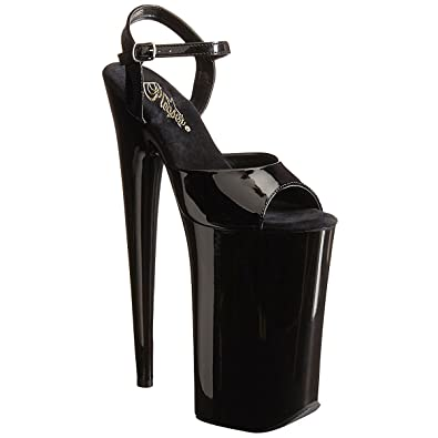 Summitfashions Glossy Extreme Black High Heels with 10 Inch Heels and 6.25  Inch Platforms Size