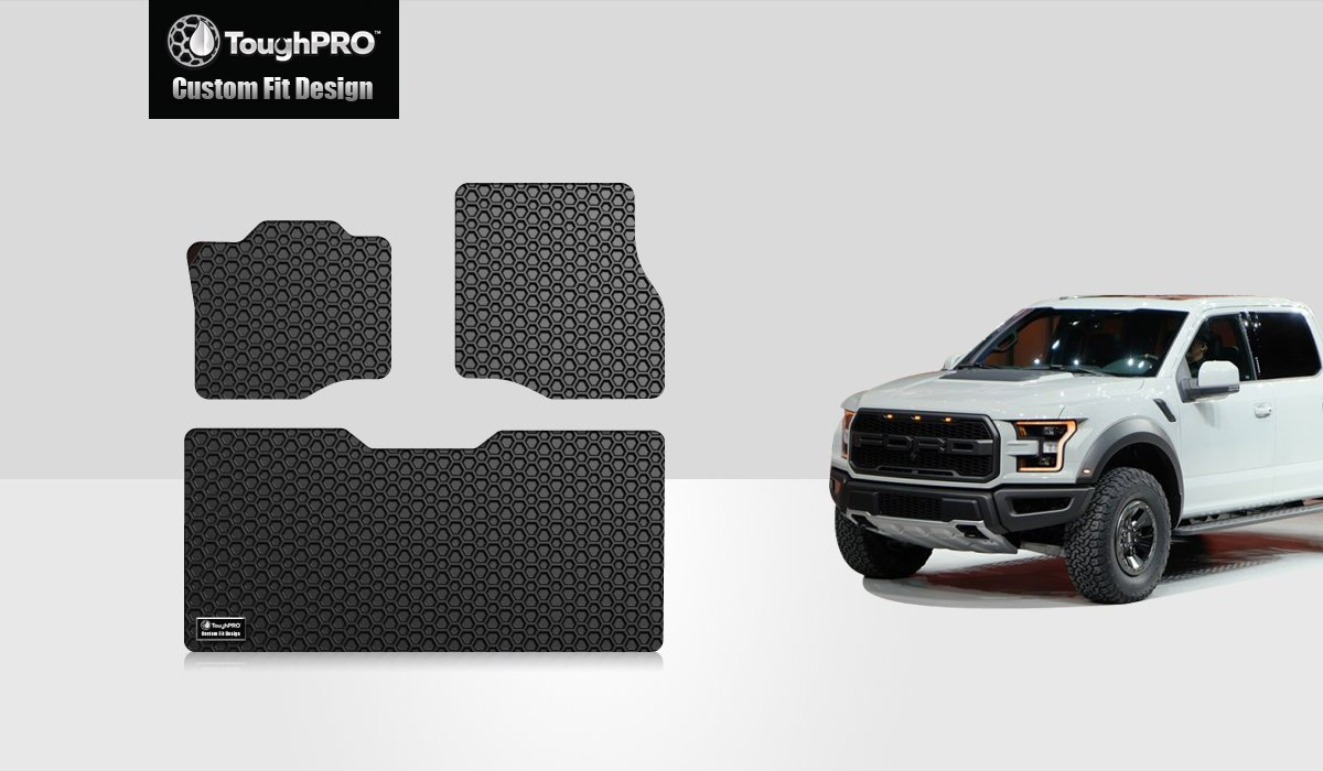 Toughpro Floor Mats Set Front Row 2nd Row Compatible With Ford F 150 Crew Cab All Weather Heavy Duty Made In Usa Black Rubber 2015