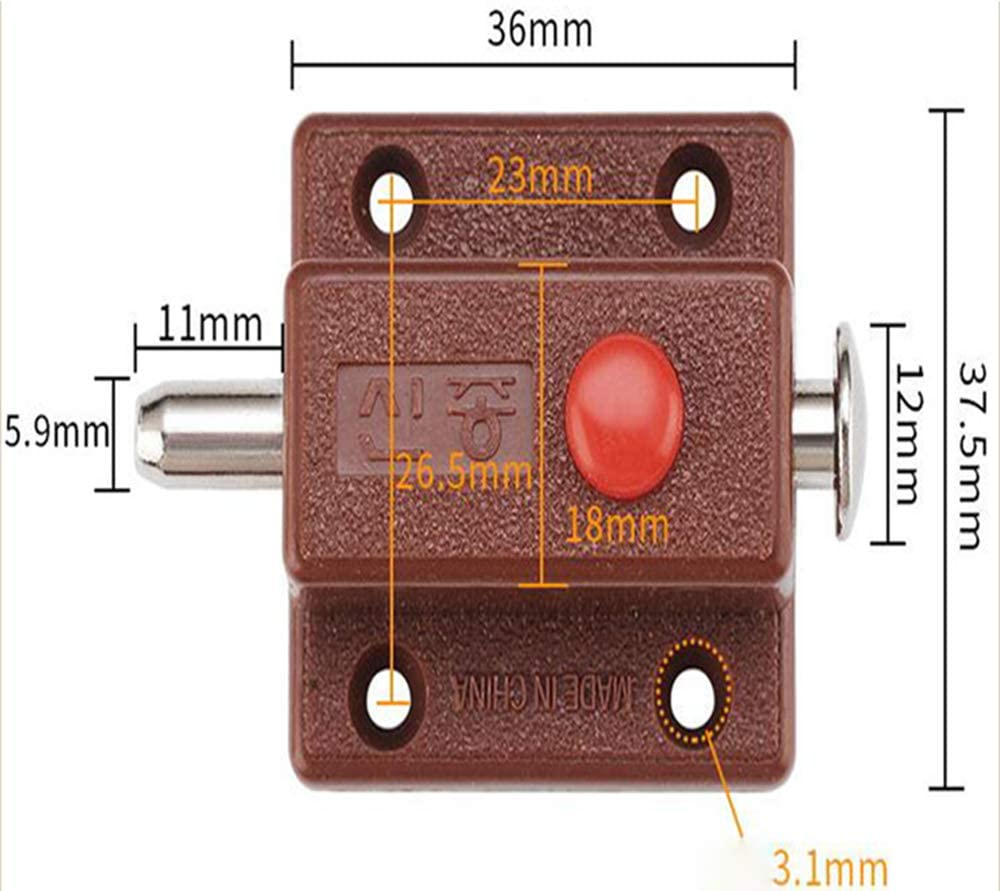 Brown 4-Piece Cabinet Button Spring-Loaded Automatic Door Latch Furniture Cabinet Drawer Door Bolt with Spring Button