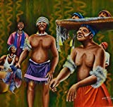 21'' x 22'' Original Oil painting of Africa traditional dancers by Nkolika Anyabolu.