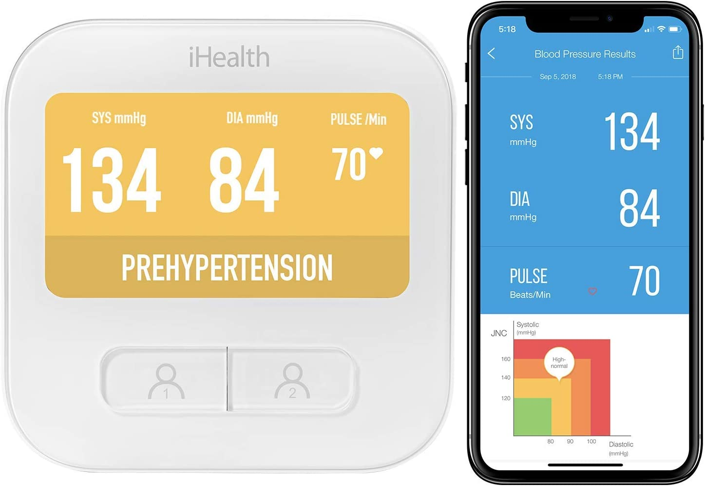 iHealth Clear Wireless Smart Wi-Fi Upper Arm Blood Pressure Monitor with Standard Cuff (8.7-14.2 inch Circumference)