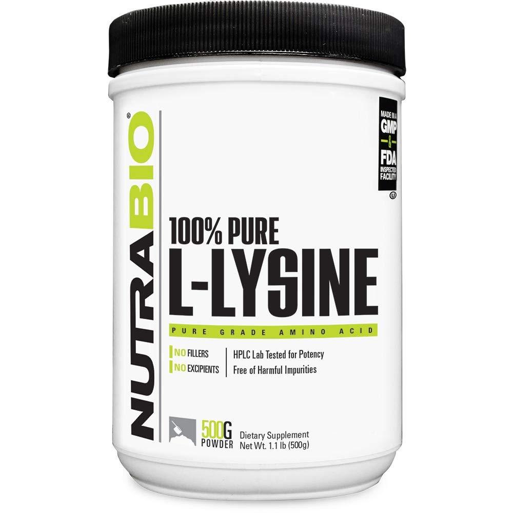 NutraBio L-Lysine Powder - 500 Grams
