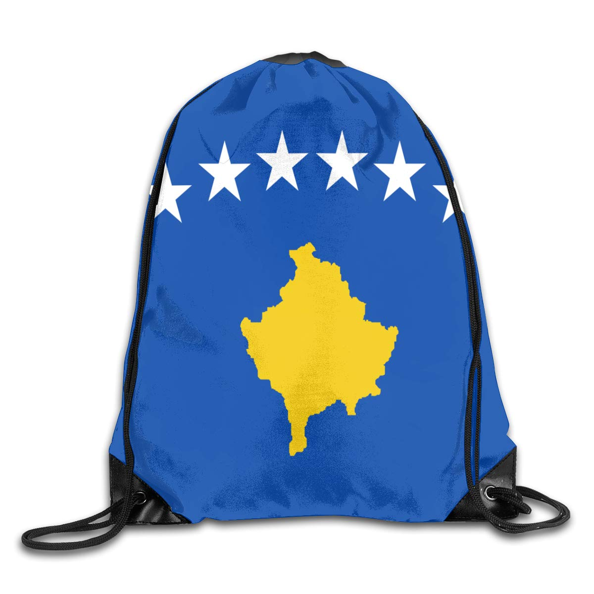 Kosovo Flag Beam Mouth Backpack Pull Rope Shoulder Bag Outdoor Sports Leisure Bag