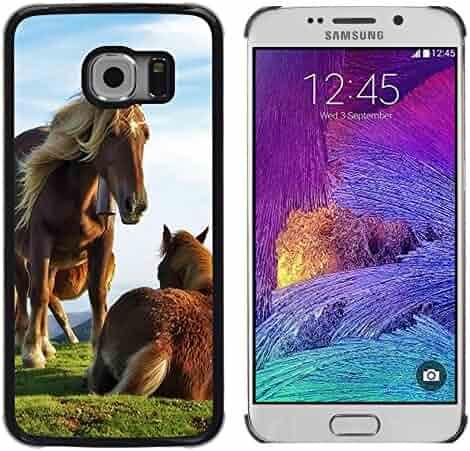 a14b8d222e FJCases Brown Horse Stallion Animal Slim & Thin Hard Case Cover for Samsung  Galaxy S6 Edge