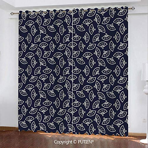(Satin Grommet Window Curtains Drapes [ Geometric,Hand Fan Pattern East Asia Culture Inspirations Oriental Motif Kimono Design Decorative,Dark Blue Cream ] Window Curtain for Living Room Bedroom Dorm R)
