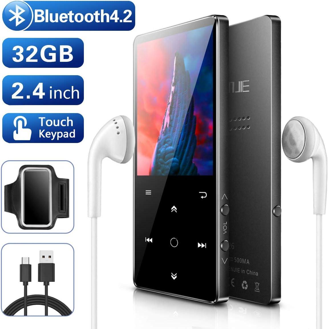 BENJIE 32 GB ampliable 128 GB reproducci/ón de v/ídeo//lectura de texto Reproductor MP3 de m/úsica Bluetooth HiFi de 2,4 pulgadas con radio FM//grabadora de voz