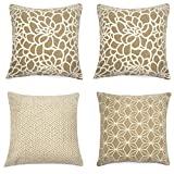 Decorative Pillow Cover - Set of 4 Throw Pillow Covers Coastal Cushions 100% Cotton Home Decorative 18 x 18 inch Soft Pillow Case Covers Invisible Zipper Pillow Case No Pillow Insert Furniture Cushions 02 (04-Brown)